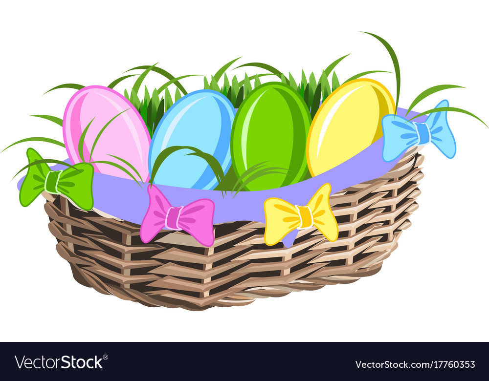 Basket with colorful eggs vector image