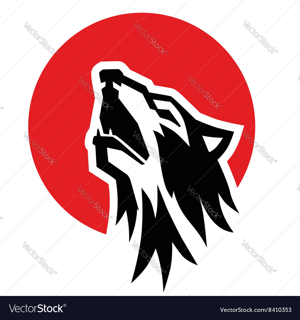 Black wolf howl emblem