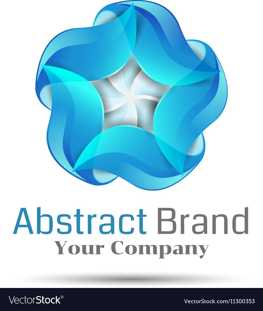 Blue swirl icon Abstract glossy circle logo vector image