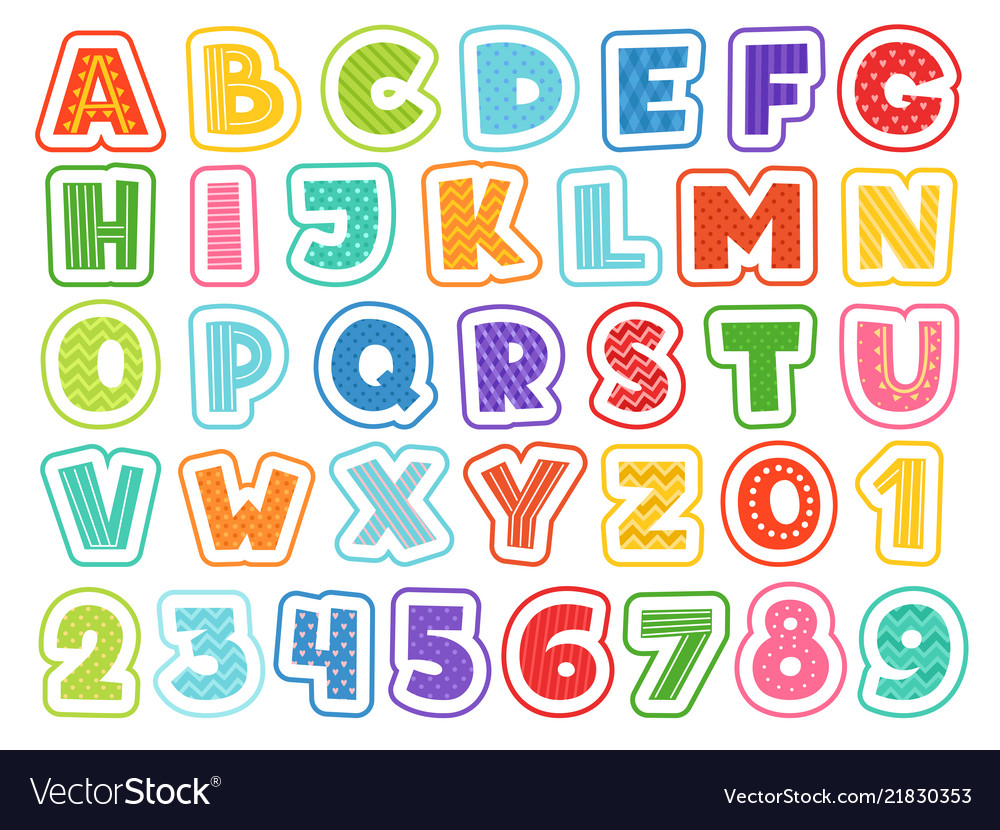 Cartoon alphabet cute colored letters numbers