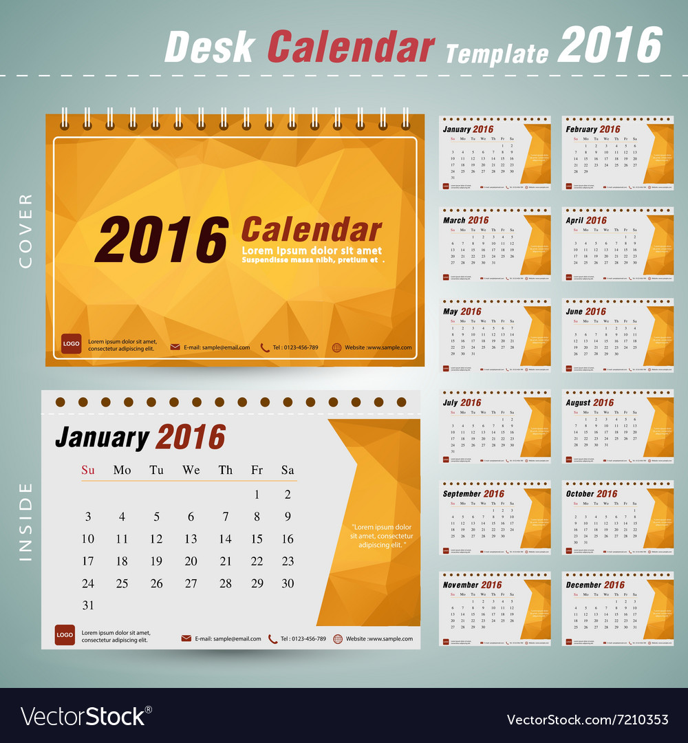 Desk Calendar 2016 Design Template With Triangular