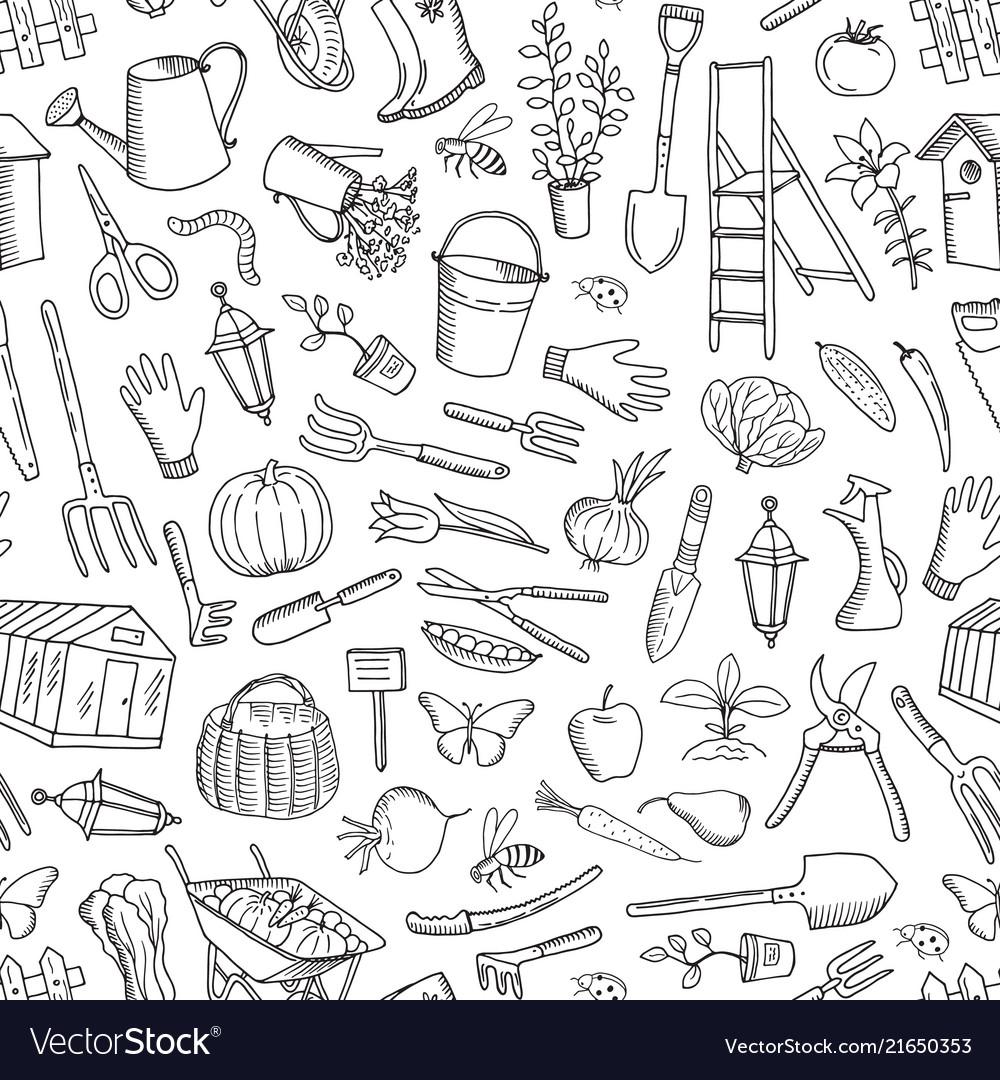 Gardening doodle icons background or