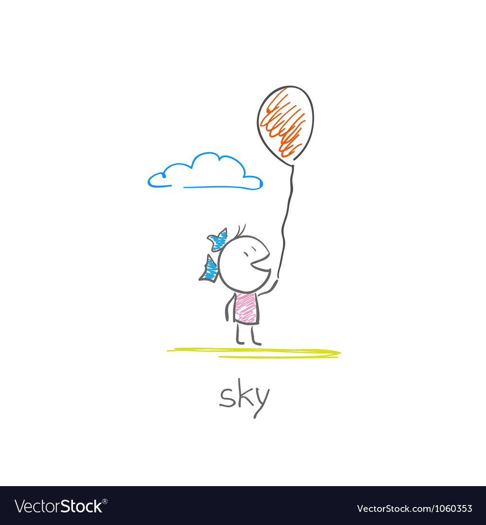 Girl with a balloon vector image