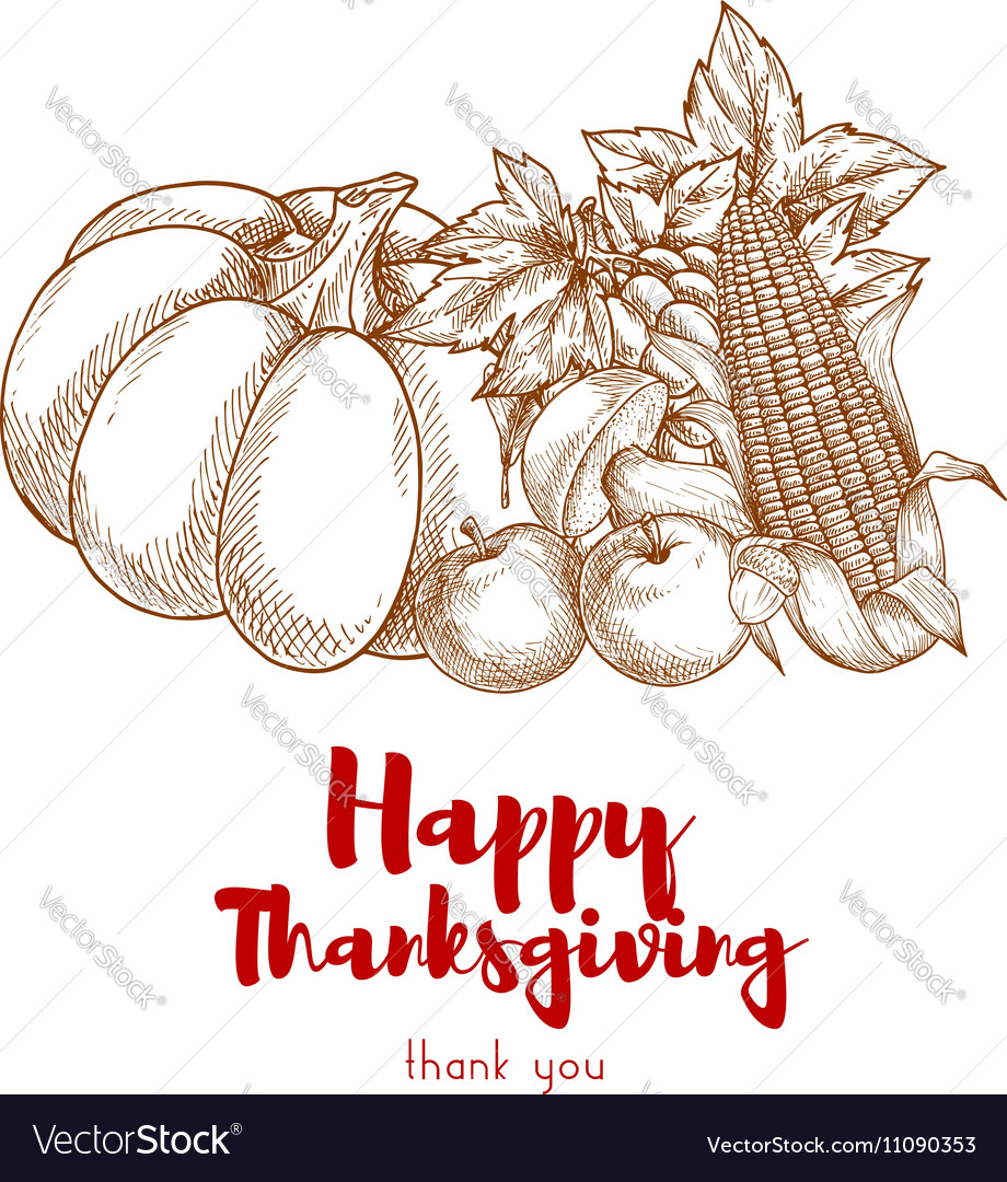 Happy Thanksgiving greeting with autumn harvest