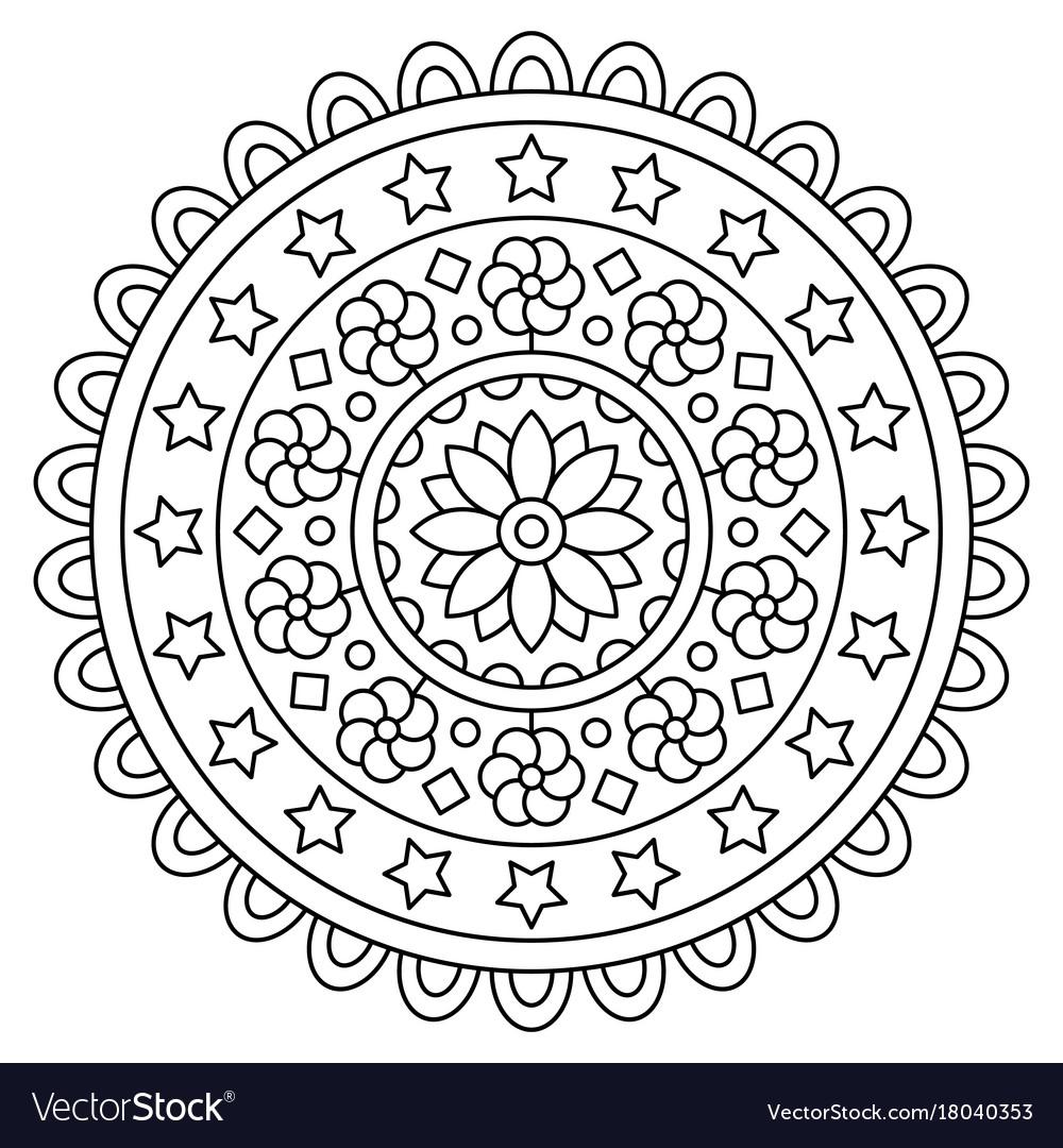 Mandala coloring page Royalty Free Vector Image