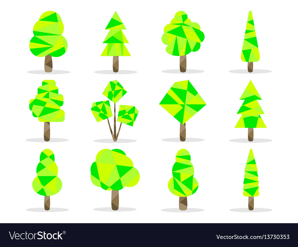 Polygon trees set low poly style