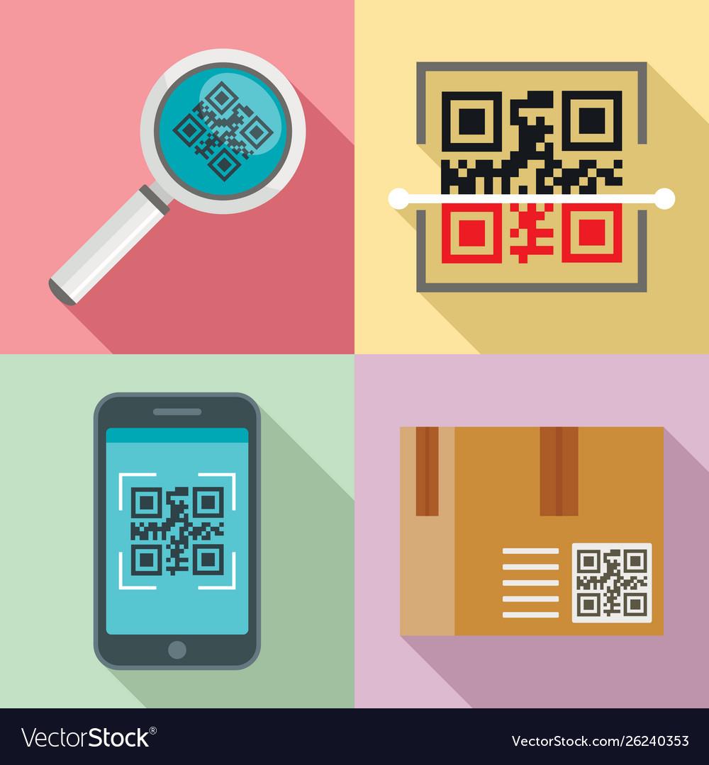 Qr code icons set flat style