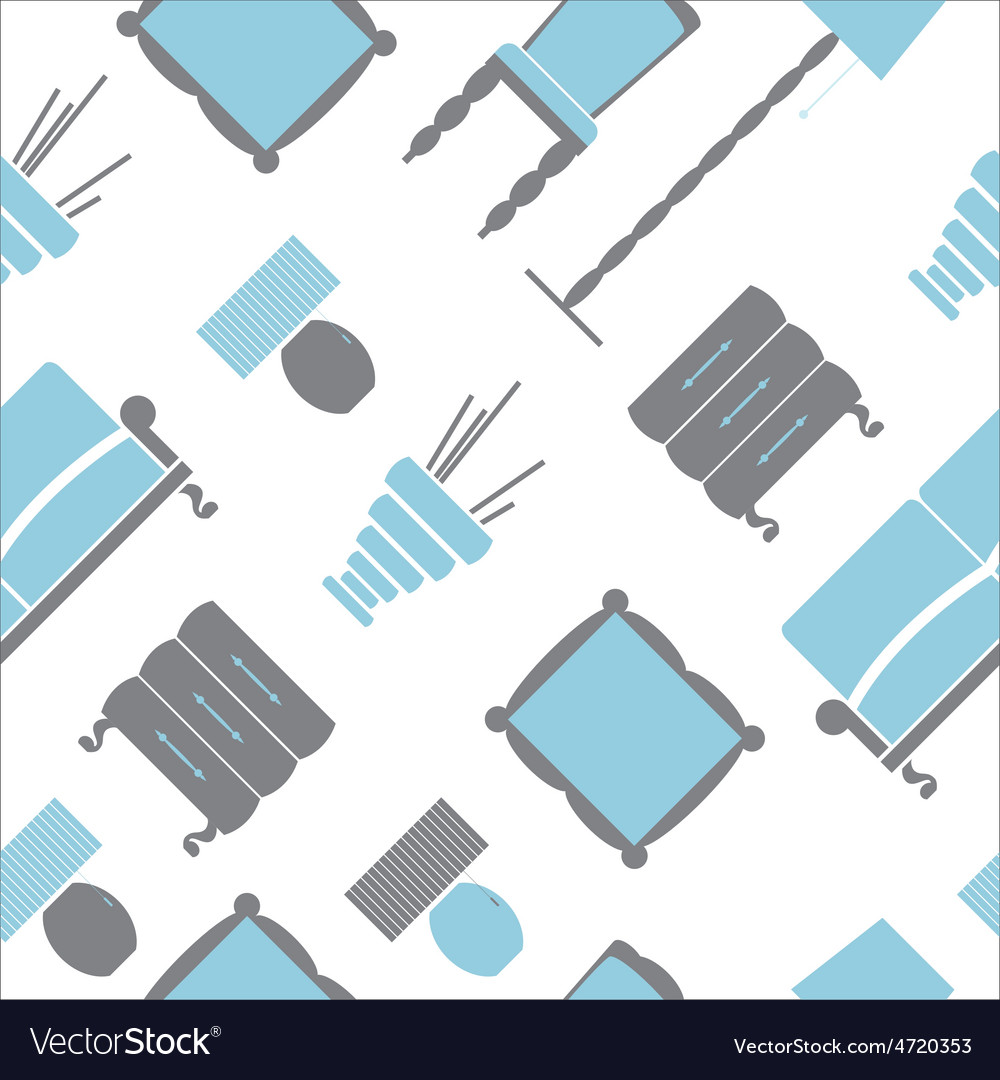 Seamless pattern with flat furniture icons