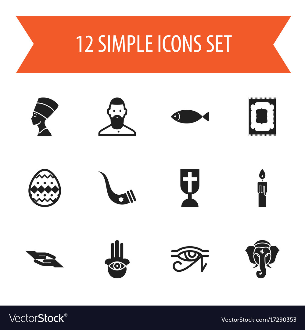 Set of 12 editable religion icons includes
