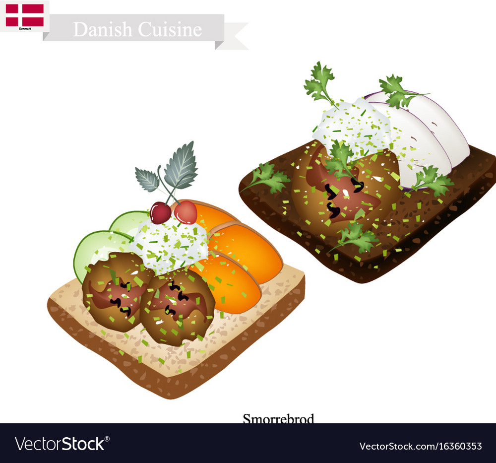 Smorrebrod with meatball the national dish of denm
