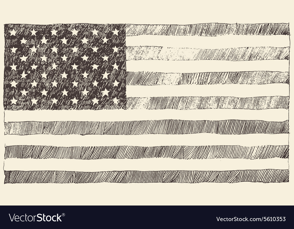 United States America USA flag hand drawn