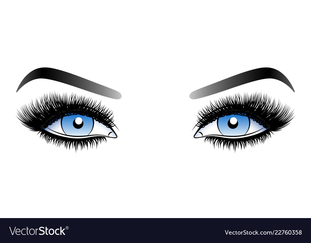 7f3f19a8ffa Blue woman eyes with long false lashes with Vector Image