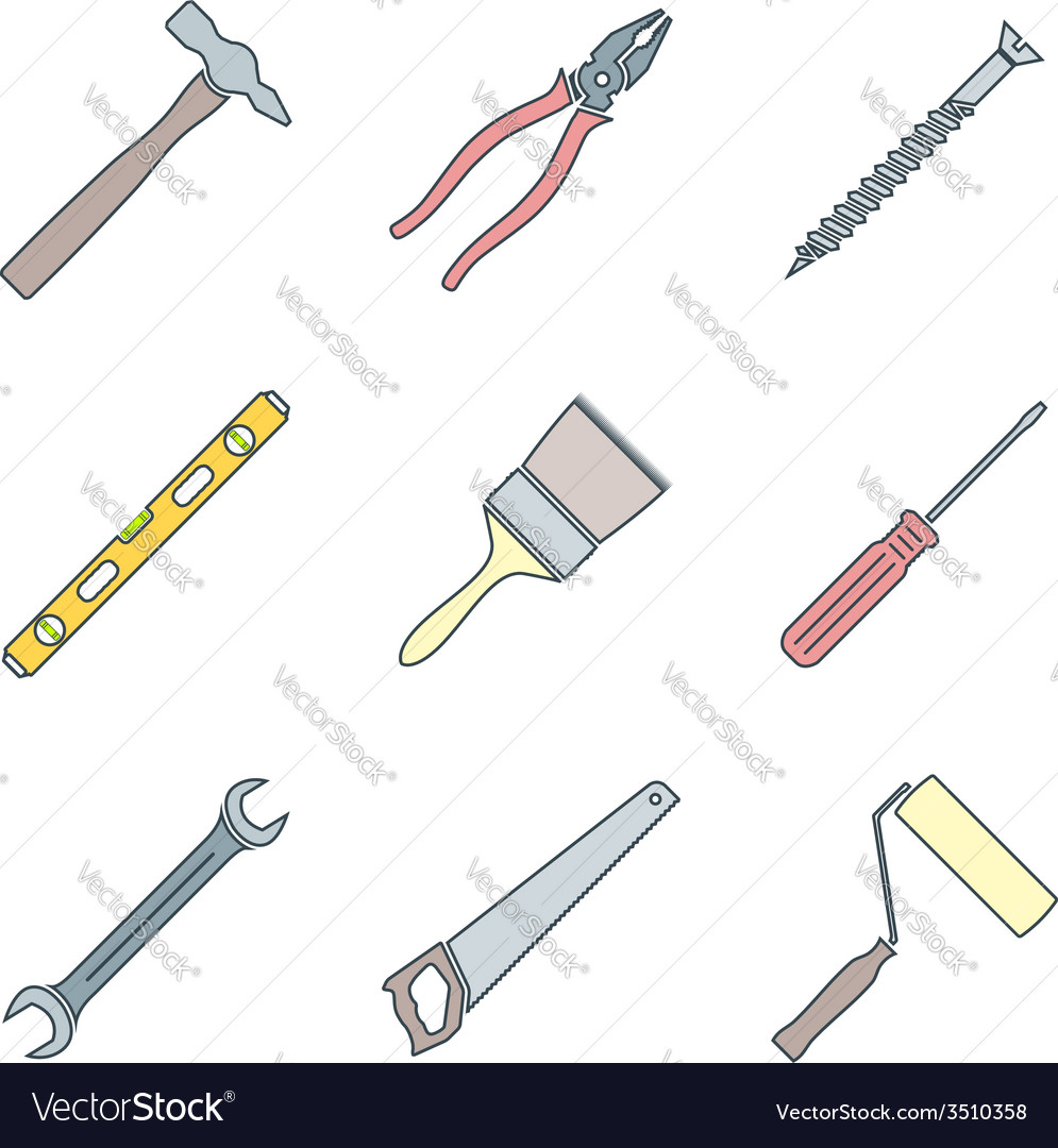 Color outline house remodel tools icons vector image