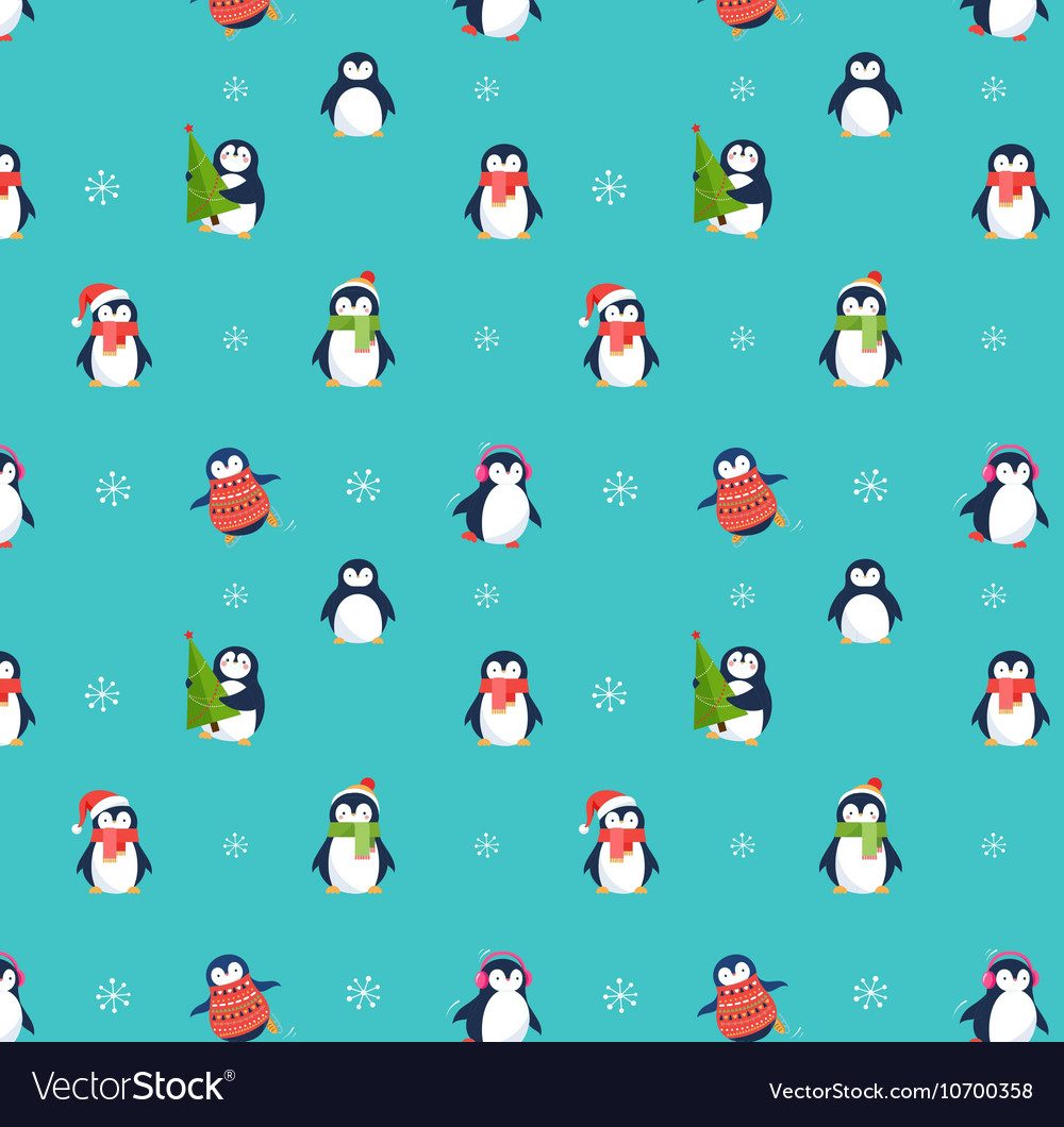 Cute Penguins Pattern Merry Christmas Greetings Vector Image