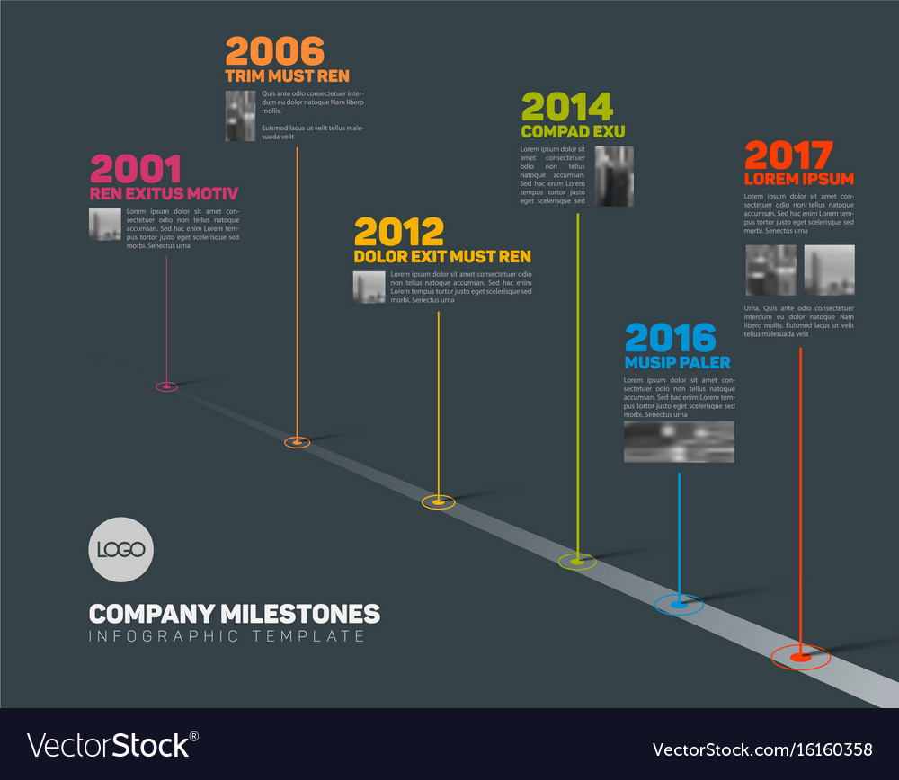 Infographic timeline template with pointers and vector image