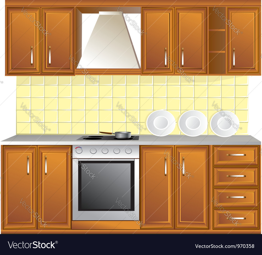 Light kitchen isolated on white background vector image
