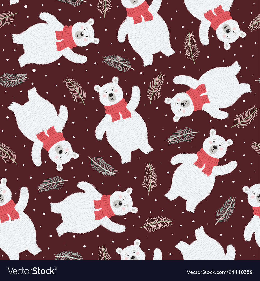 Seamless pattern with a cute polar bear