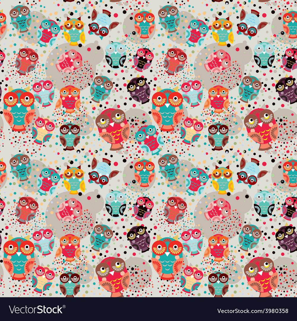 Seamless pattern with colorful owls on cream