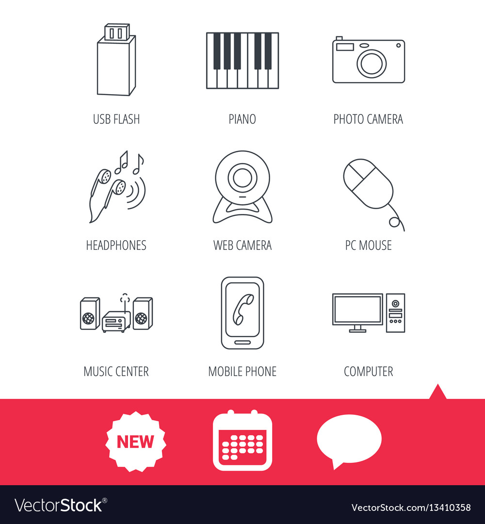 Smartphone web camera and usb flash icons