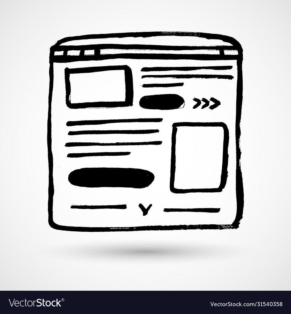 Web browser window with page hand drawn outline