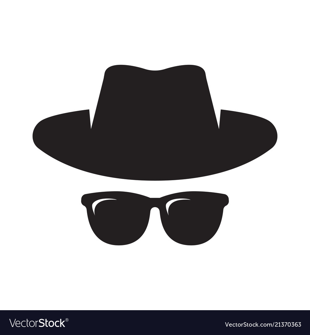 Agent icon spy sunglasses hat and glasses