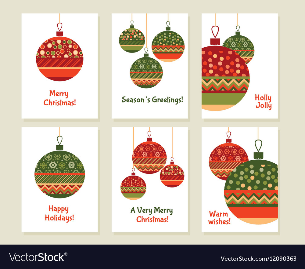 Assorted decorative xmas balls decoration red and vector image