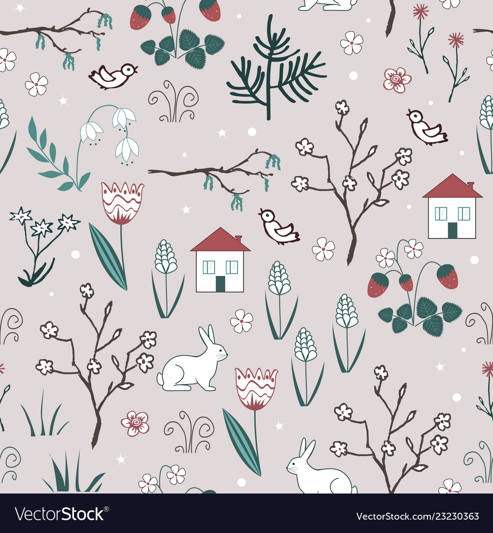 Cute spring seamless pattern with cartoon
