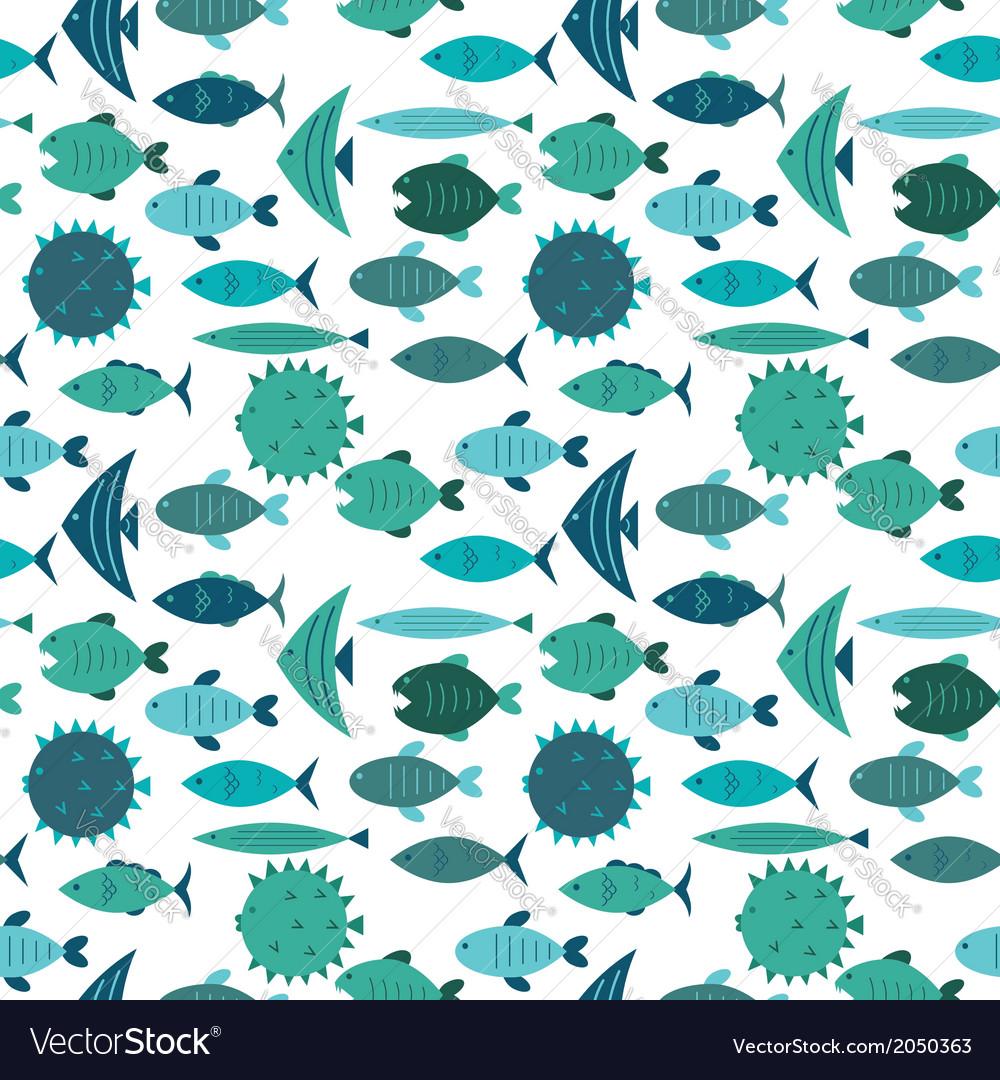 Fish pattern blue