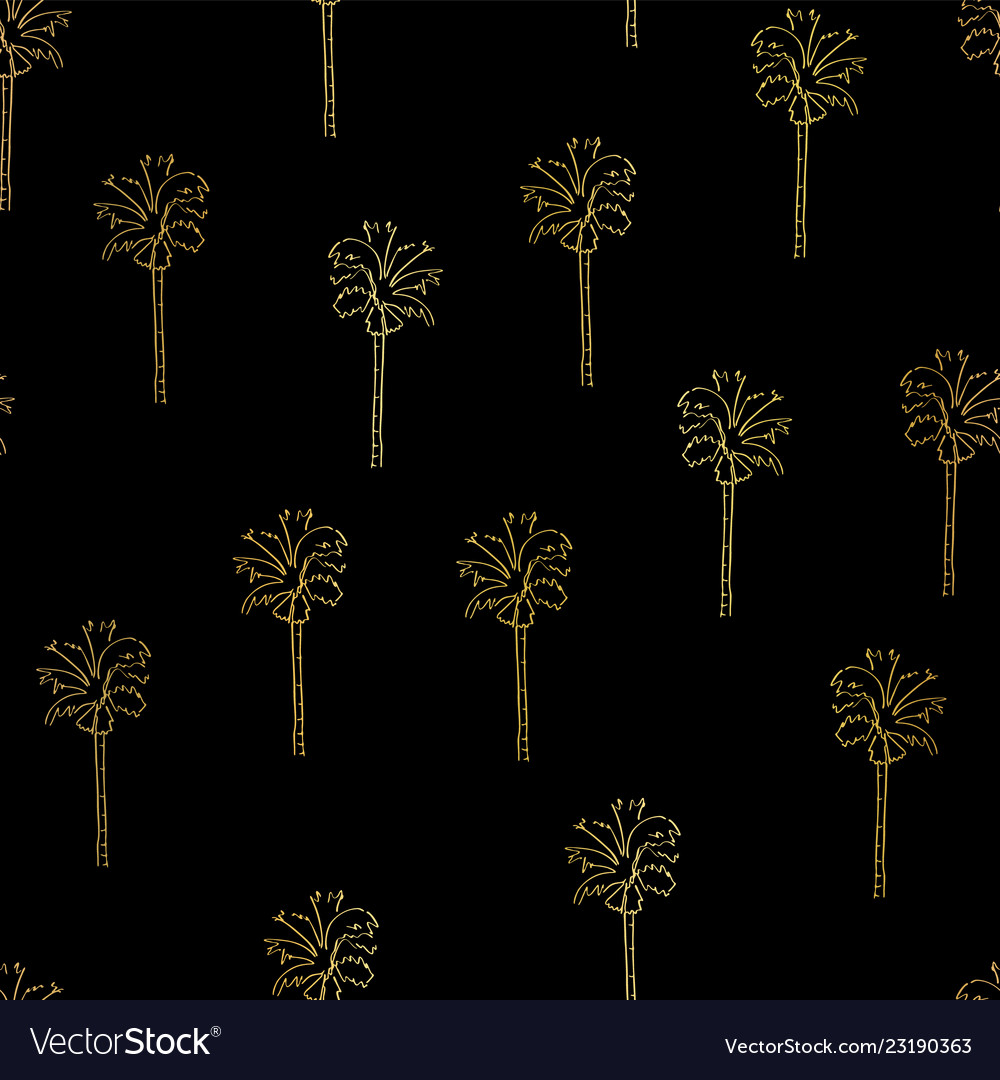 Gold foil abstract palm trees pattern