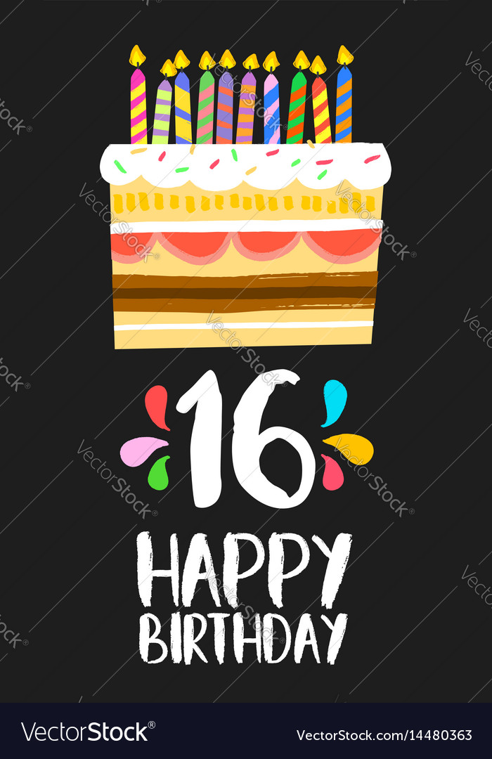 Remarkable Happy Birthday Cake Card 16 Sixteen Year Party Vector Image Funny Birthday Cards Online Aeocydamsfinfo