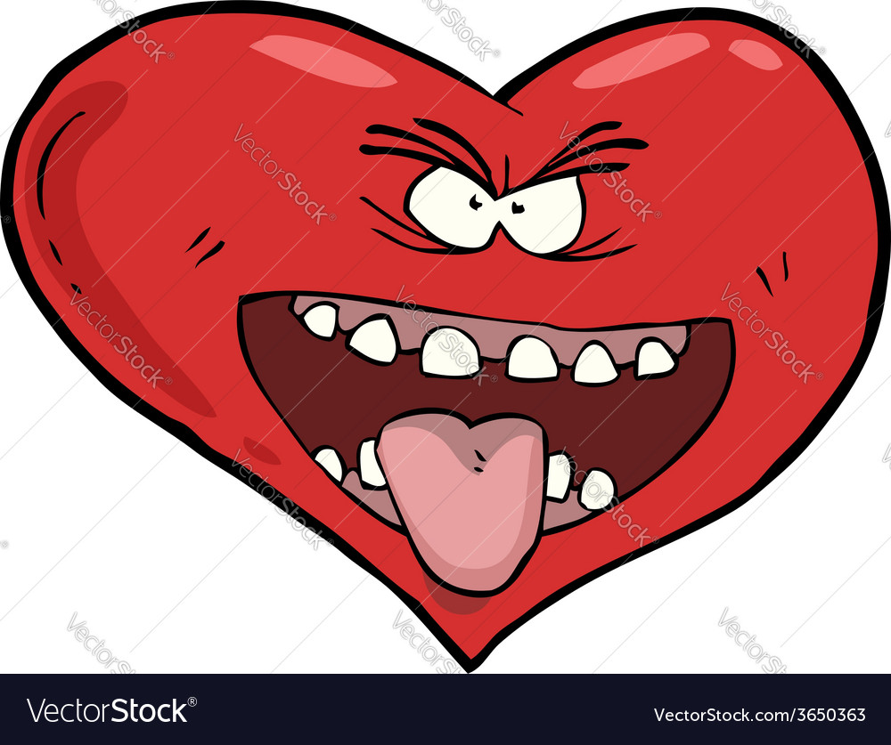 Heart with an open mouth