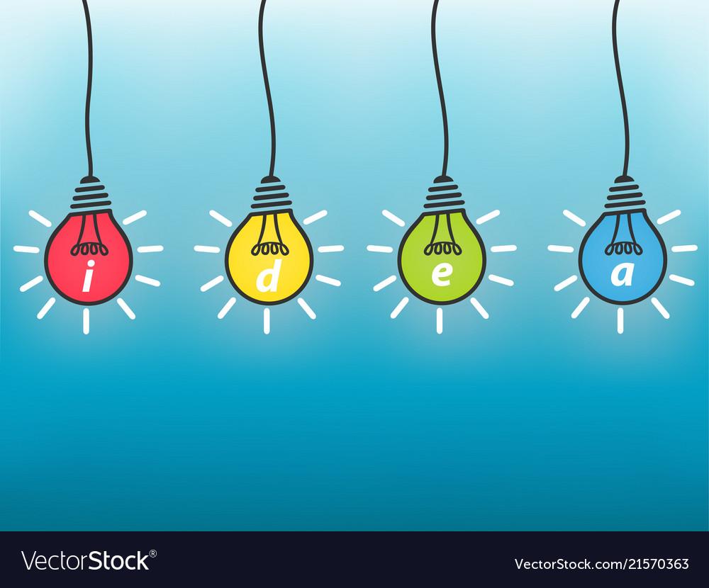 Idea business concept colorful light bulb on blue
