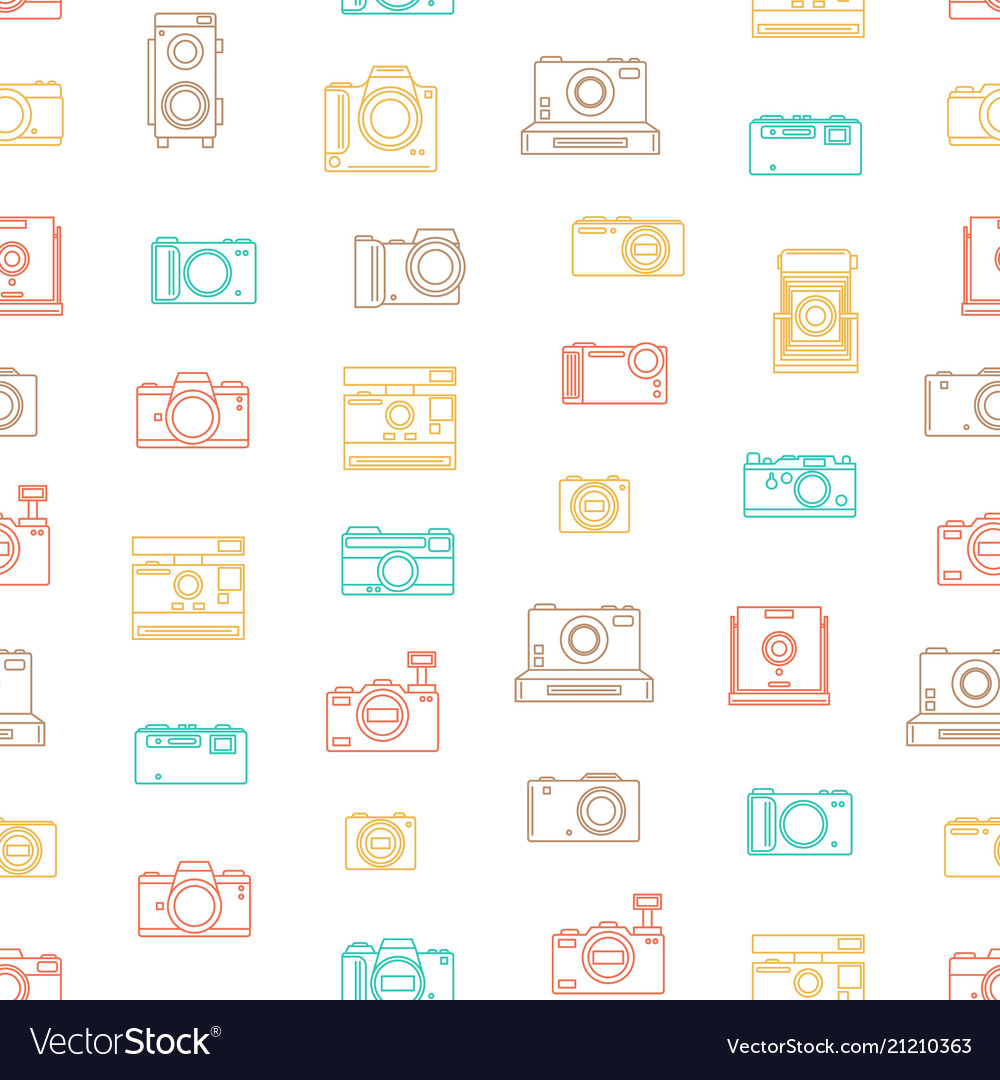 Photo camera thin line seamless pattern background