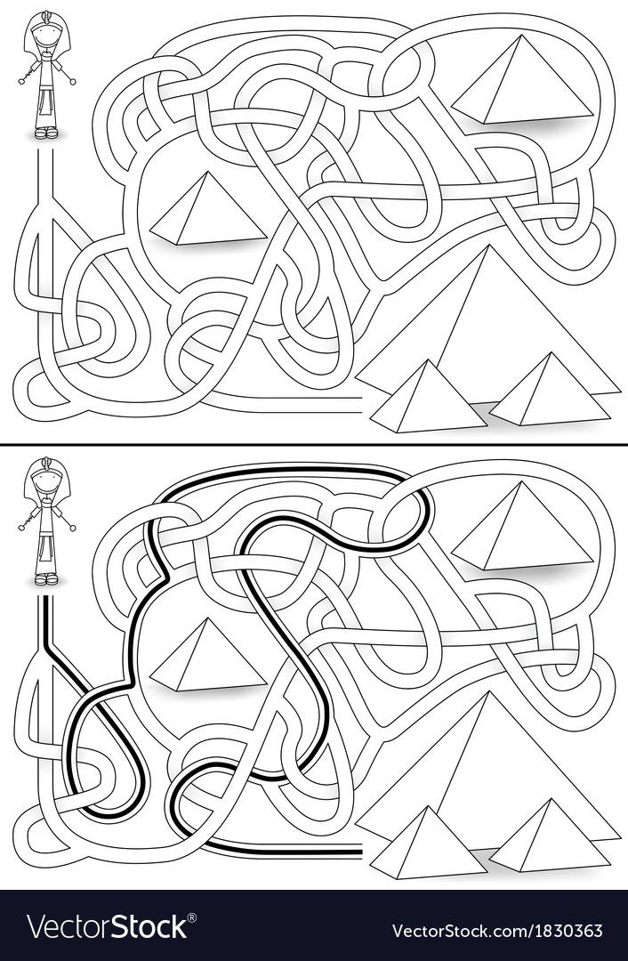 Pyramid maze vector image