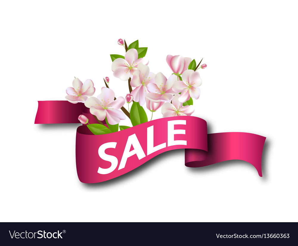 Sale Pink Ribbon With Flowers Season Discount Vector Image
