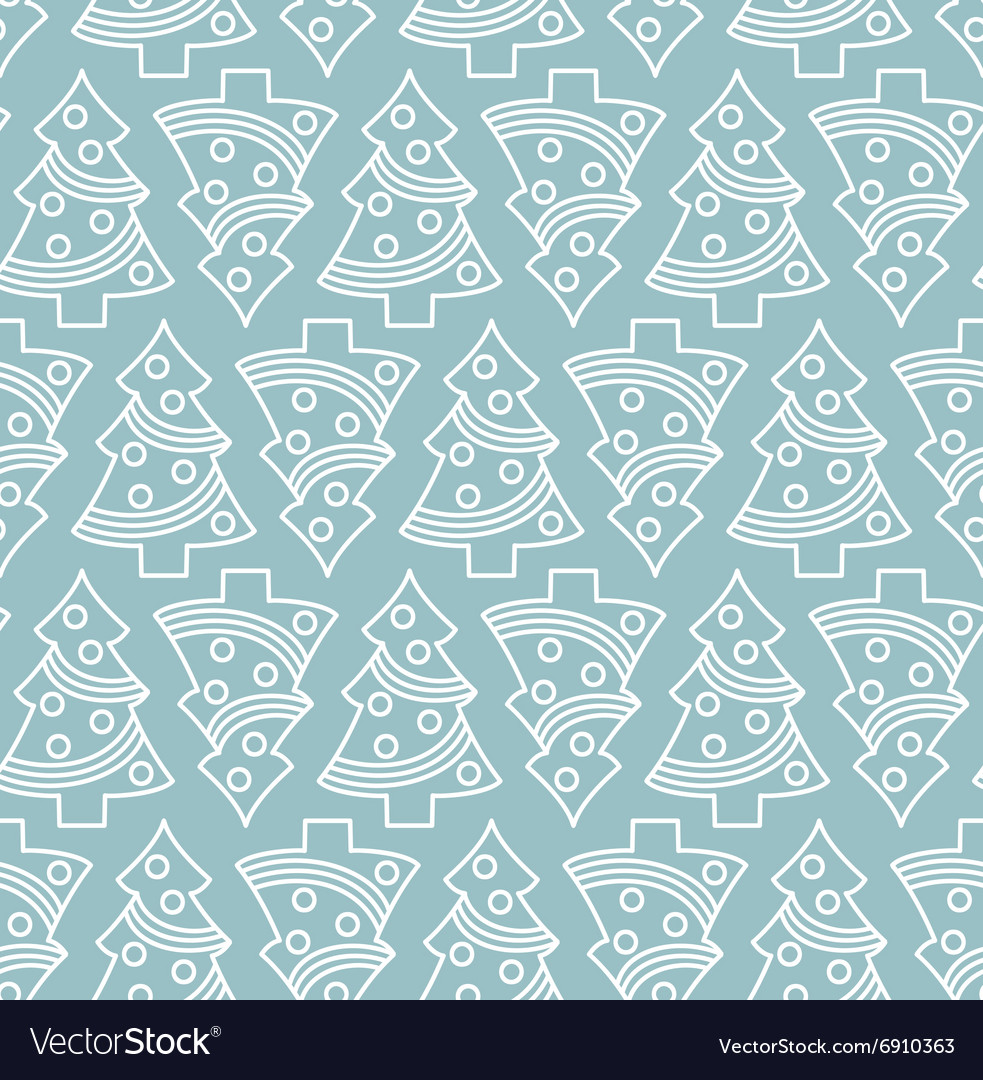 Seamless Christmas tree pattern vector image