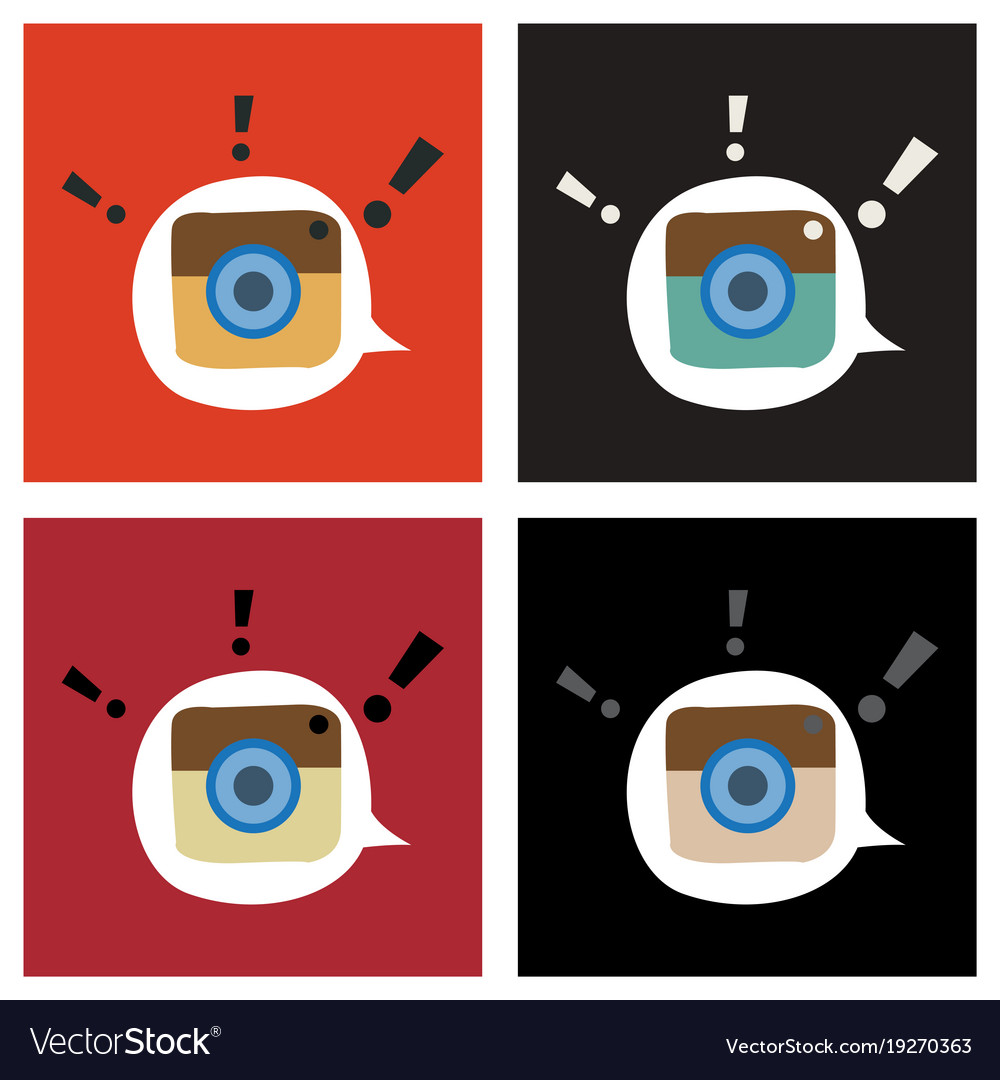 Set of flat web icon of modern lineart camera