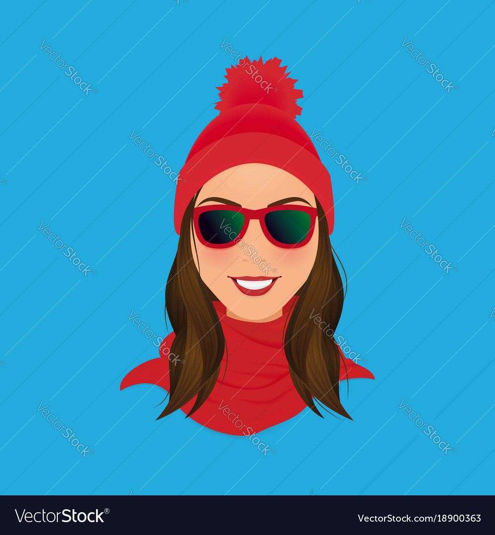 Smiling hipster woman face in sunglasses red pom
