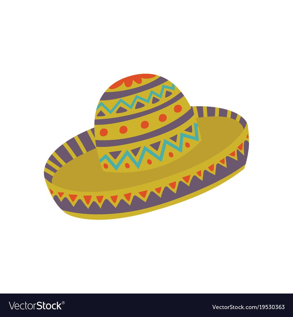 sombrero hat with mexican ornament cartoon vector image rh vectorstock com sombrero cartoon drawing sombrero cartoon pictures