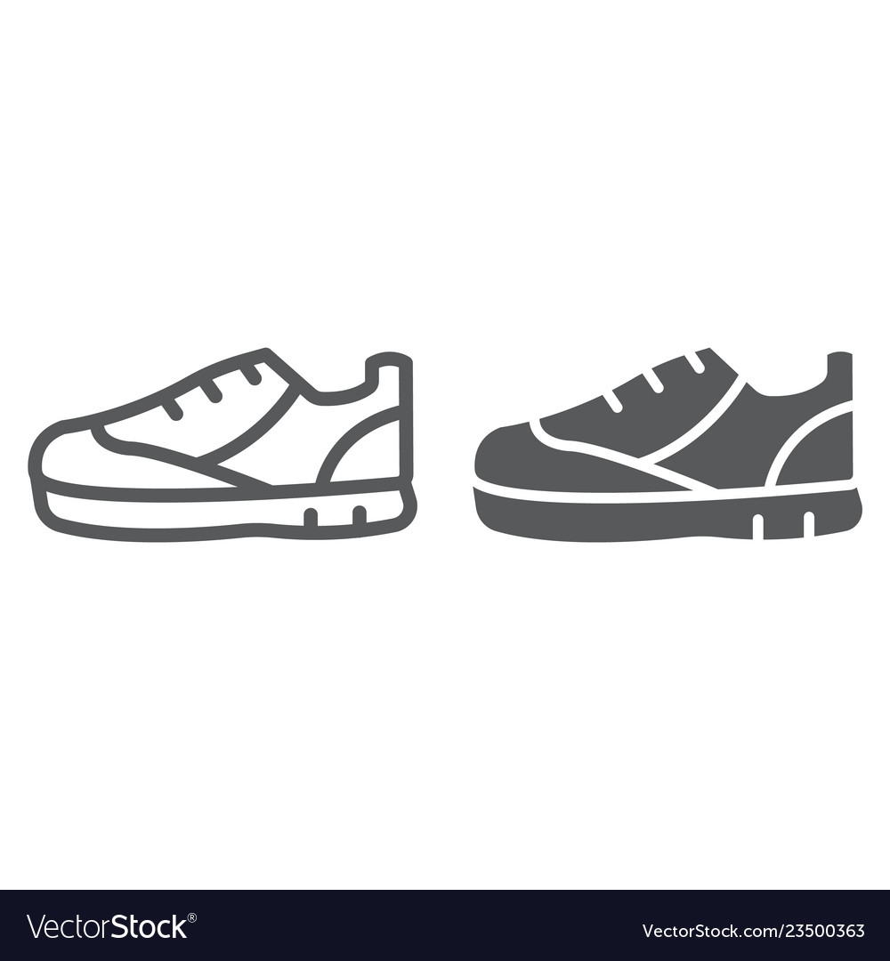 Sport shoes line and glyph icon footwear and shoe