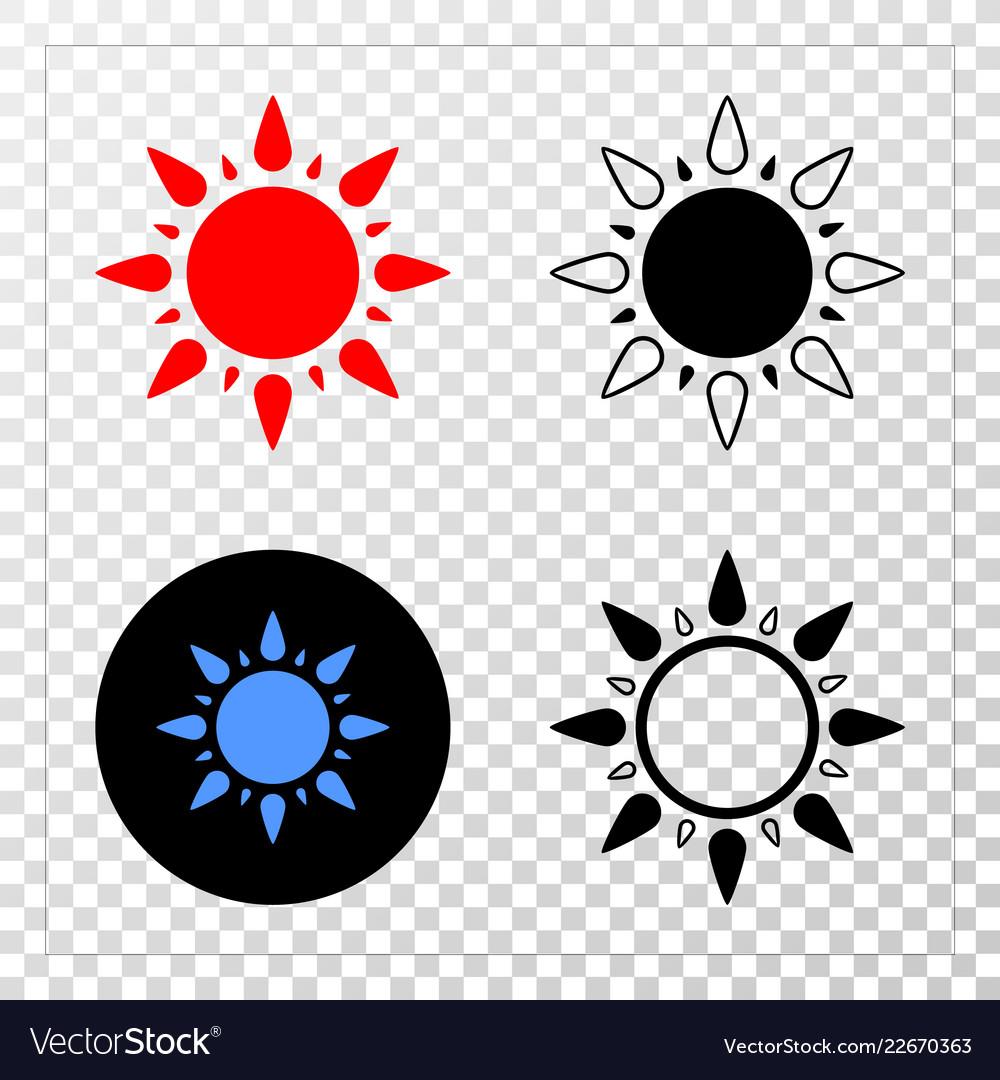 Sun eps icon with contour version