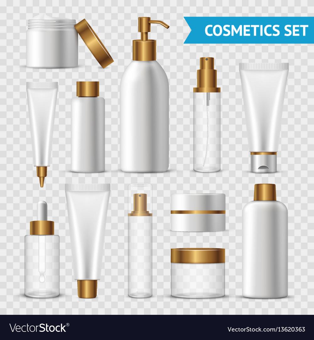 Transparent cosmetics icon set