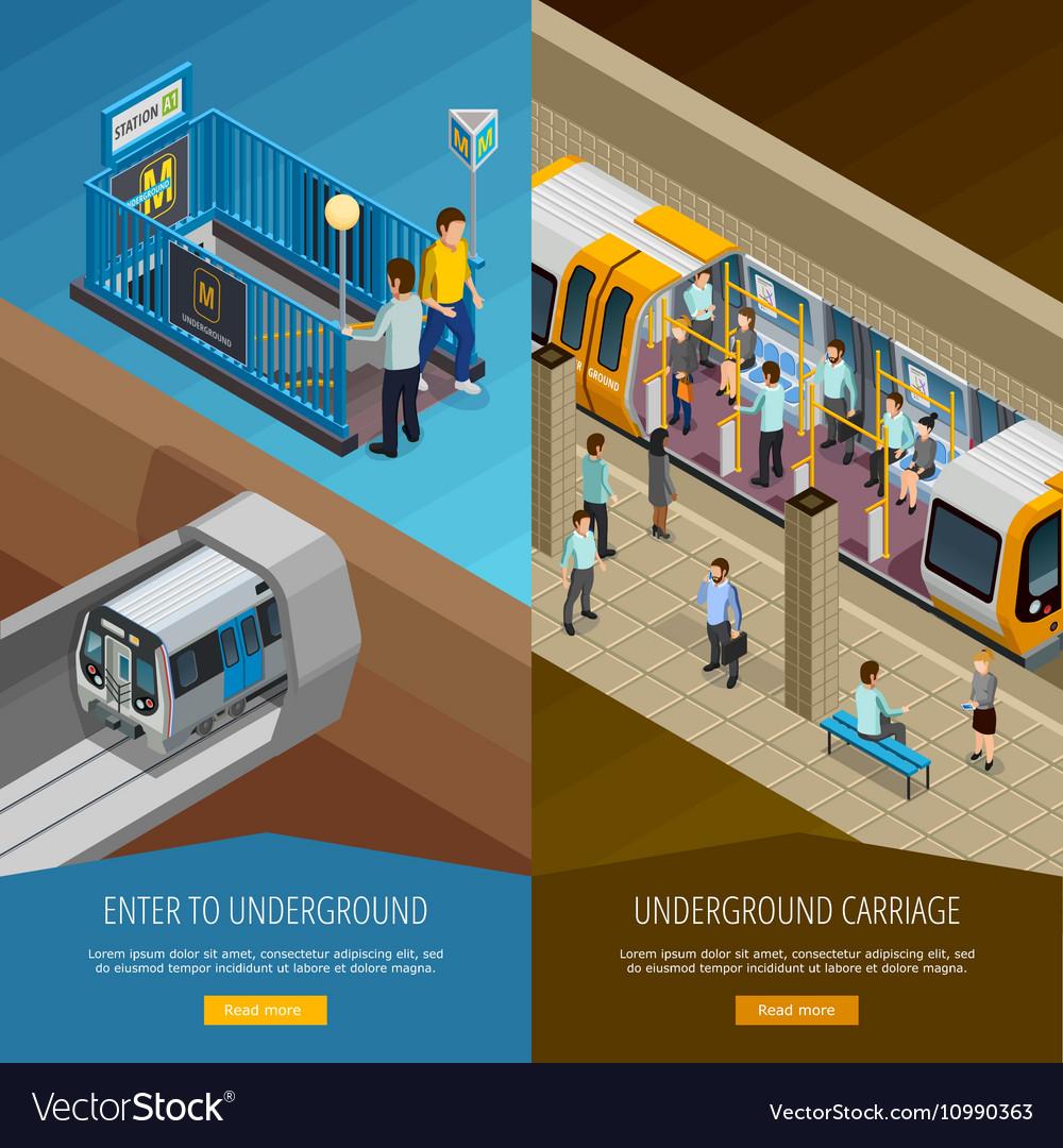 Underground Vertical Banners Set vector image