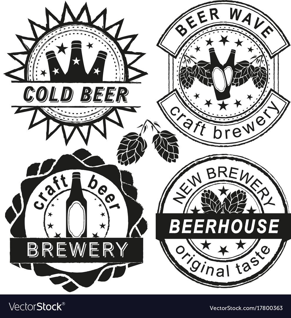 Vintage brewery logo emblems and badges
