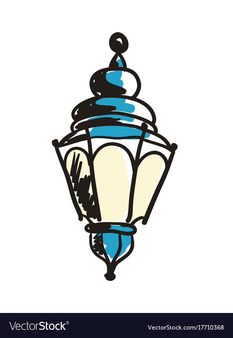 Ancient lantern hand drawn icon