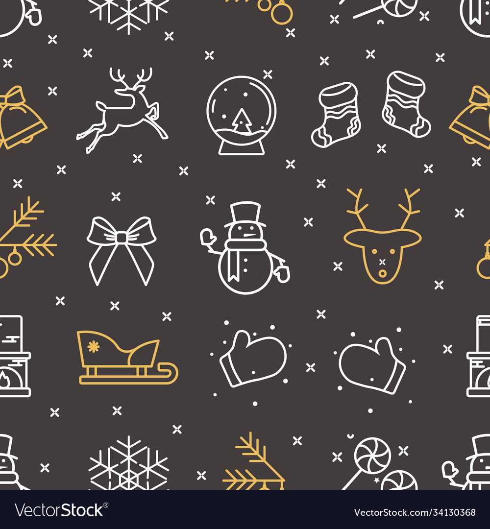 Black seamless pattern from new year icons