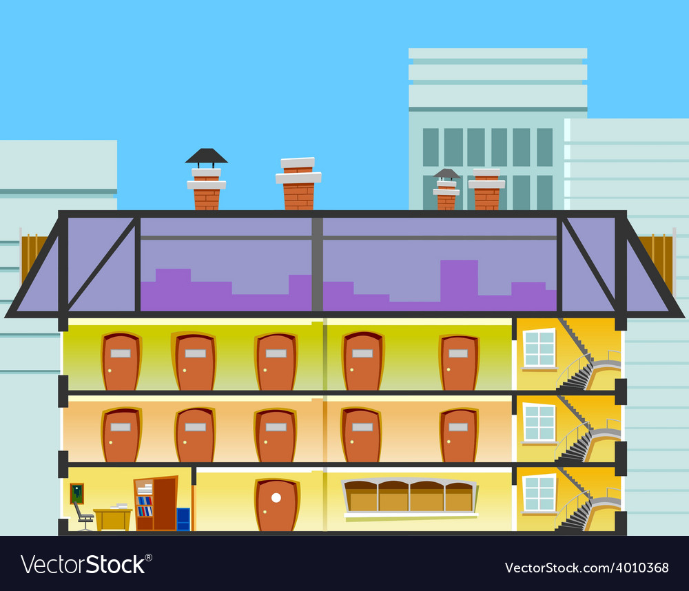 Cartoon Office Building In The Cross Section Vector Image