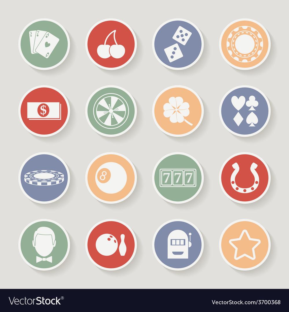 Casino round icons set