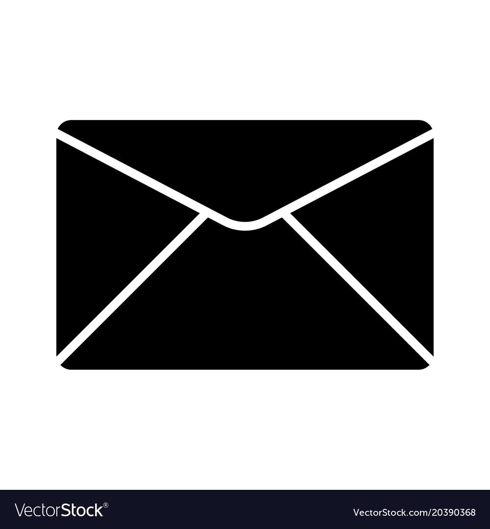 envelope icon mail symbol black silhouette vector image