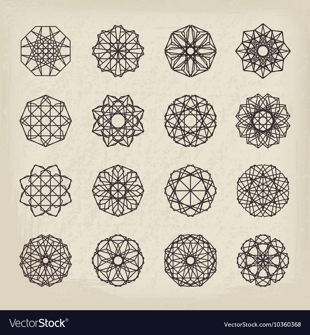 Geometric Vintage Ornaments Set